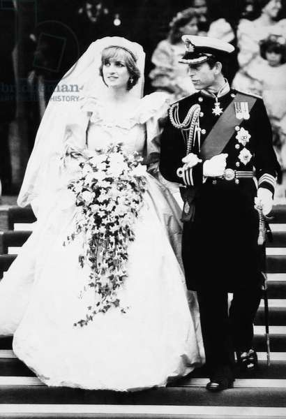 British Royalty. Princess Diana of Wales and Prince Charles of Wales, on their wedding day, St. Paul's Cathedral, London, England, July 29, 1981