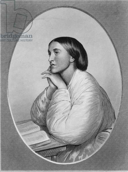 Christina Rossetti (1830-1894) English poet, in a chalk drawing by her brother, Dante Gabriel Rossetti, 1866
