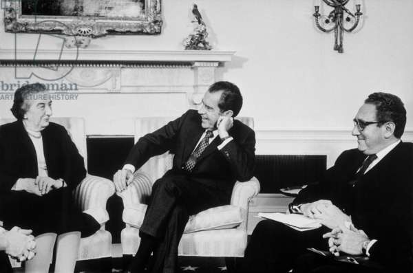 President Nixon Henry Kissinger and Israeli Prime Minister Golda Meir meeting in the Oval Office. March 1 1973