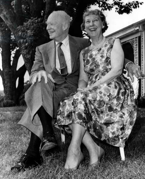 Dwight Eisenhower and Mamie Eisenhower outisde their home, June 30, 1966