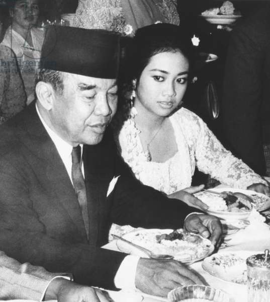 Indonesia's former President Sukarno with his daughter, Rachmawati, at her wedding. March 25, 1969. It was a rare public appearance for Sukarno who was under house arrest from 1967-1970