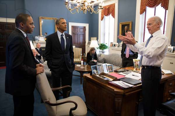 VP Joe Biden meeting with President Obama and Rob Nabors, in Biden's West Wing office. Dec. 31, 2012