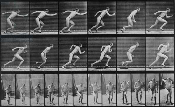 Consecutive images of a man running. From Eadweard Muybridge's, ANIMAL LOCOMOTION, 1887