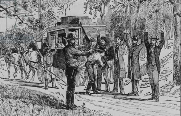 Jesse James and Bill Ryan robbing a stage coach of tourists on their way to Mammoth Cave on September 3, 1880. The picture accurately records the scene as described by a witness