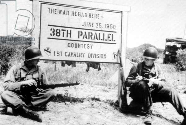 Korean War: American troops at 38th Parallel, Korea, 1951.