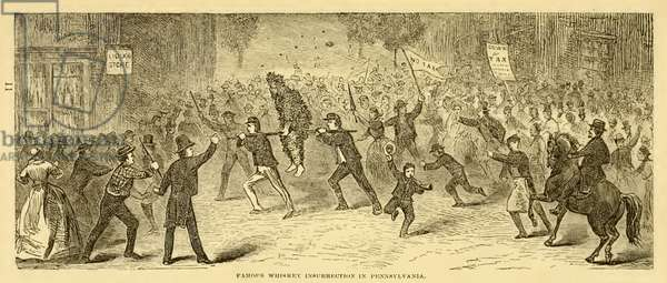 Famous whiskey insurrection in Pennsylvania. A tarred and feathered tax collector being made to ride the rail. 1794