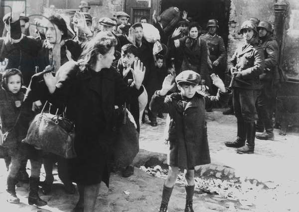 Jews captured by German soldiers during the Warsaw Ghetto Uprising, April 19-May 16, 1943. They were 'forcibly pulled out of dug-outs', read the photo caption in the World War 2 report of SS officer Jurgen Stroop to Heinrich Himmler