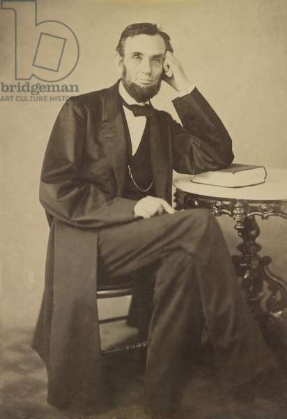 President Abraham Lincoln in studio photograph of Aug. 9, 1863. Photo by Alexander Gardner, who was employed in the Mathew Brady Studio at the time