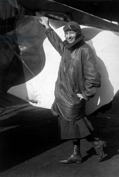 Marjorie Stinson was one of the first woman authorized to carry airmail for the United States. During World War I, Stinson flew a Curtiss JN-4D and a Curtiss Stinson-Special for American Red Cross fund raising tours. c. 1918