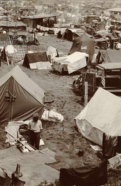 Encampment built by veterans of the Bonus Expeditionary Force in Washington, D.C. on Anacostia Flats from scavenged materials and tents. Veterans used their field training to keep area sanitary and in good order. June 1932