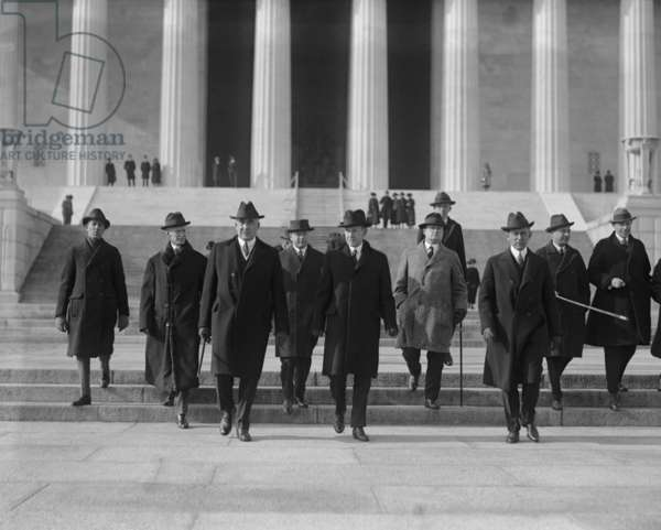 President Warren Harding and VP Calvin Coolidge in a group near the Lincoln Memorial. Dec. 18, 1922