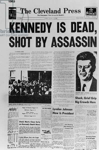 Kennedy assassination headline. Cleveland Press front page reporting President John Kennedy's Assassination