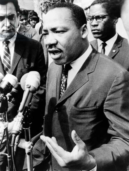 Martin Luther King: Martin Luther King, Jr. (1929-1968), speaking at an informal news conference in Selma, Alabama, 1965.