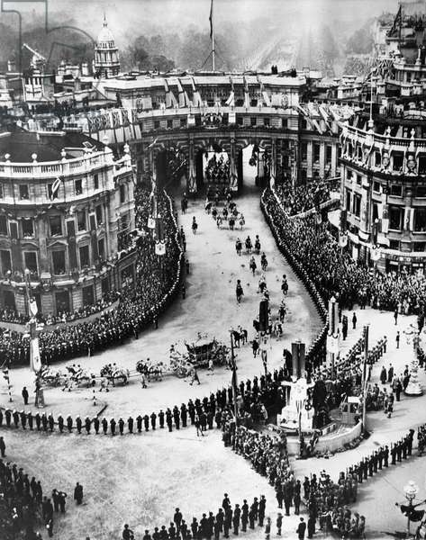 British Royalty. Coronation procession for King George VI of England and British Queen Elizabeth (future Queen Mother), Trafalgar Square, London, England, May 12, 1937