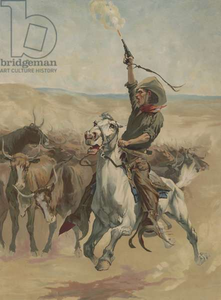 HEADING A STAMPEDE, 1888, chromolithograph, by A. W. Elson. A cowboy on a galloping horse, shoots his revolver in the air near a closely group herd of Texas longhorns (lithograph)