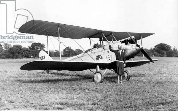 BRIARCLIFF, NY--Miss Amelia Earhart, the well-known pilot, tested out for the first time the Avro-Avian biplane which she bought from Lady Heath of England. It is the plane in which Lady Heath made her memorable trip over Africa recently. 1928.