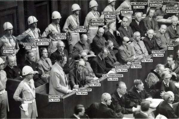 Nazi World War II leaders in the prisoners' box at the war crimes trial at Nuremberg, Germany. Labels show the sentence imposed by the international tribunal for each defendant