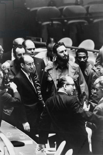 Fidel Castro (back, center), President of Cuba, at a meeting of the United Nations General Assembly, by Warren K. Leffler, September 22, 1960