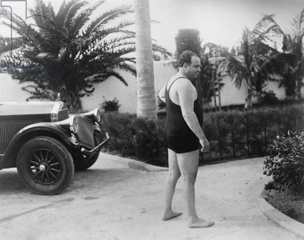 Chicago gangster Al Capone wearing a bathing suit at his Florida home. c. 1929-31.