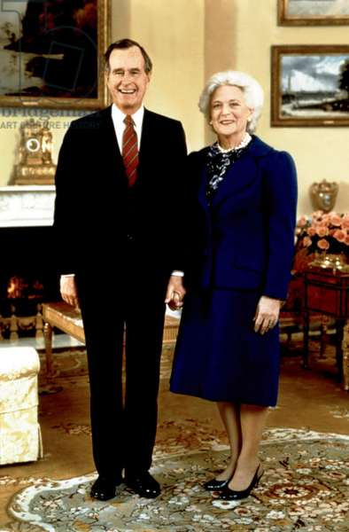 Presidential portrait of GEORGE BUSH and First Lady BARBARA BUSH