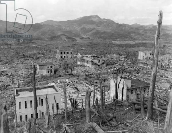 Ruins of Nagasaki, Japan, after atomic bombing of August 9, 1945. As seen from a hillside opposite the Nagasaki Hospital in October 1945