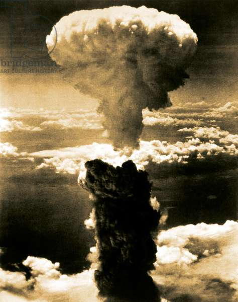 Atomic bomb. A mushroom cloud rises more than 60,000 feet into the air over Nagasaki, Japan after an atomic bomb was dropped by the US bomber