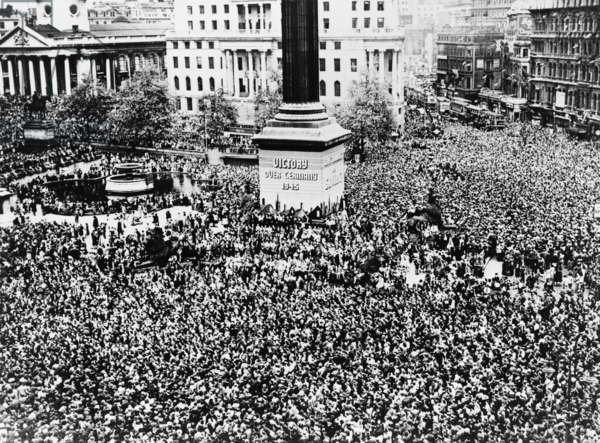 V-E Day celebrations in Trafalgar Square, London, May 7, 1945. Victory in Europe Day, World War 2