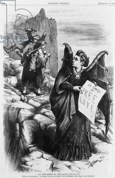 Political cartoon by Thomas Nast depicting Victoria Woodhull as the devil who holds banner, 'Be saved by free love,' addressed to the women burdened by a drunk husband and children. Woodhull was an eccentric 19th century reformer who espoused a single moral standard for men and women