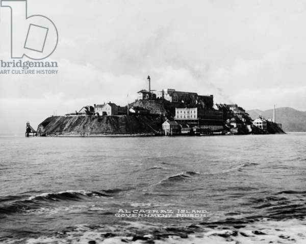 The Rock' United States Penitentiary on Alcatraz Island in San Francisco Bay California. c. 1940s