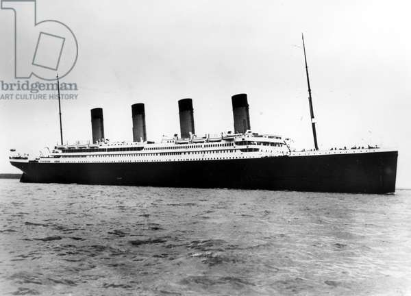 The Titanic, RMS Titanic ocean liner prior to it's ill-fated collision with an iceberg and sinking on April 15, 1912, 1912