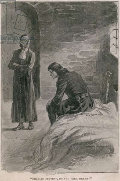 Rev. Samuel Parris, was the most notorious villain in Salem Witch Trials of 1692. An Illustration shows him shortly before his fall, interrogating a prisoner, Charles Stevens, he was conspiring to frame for murder. c. 1692