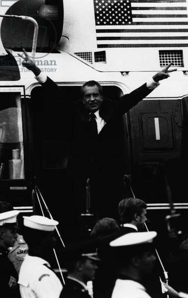 Nixon Presidency. former US President Richard Nixon boarding the Presidential helicopter after resigning, August 9, 1972