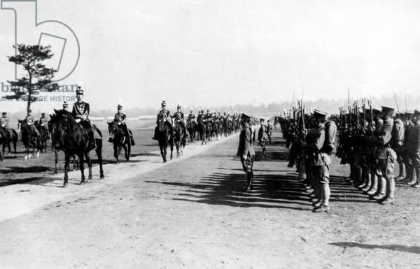 Hirohito, The Price Regent of Japan, reveiwing the regiment of the Japanese Army, c. 1926