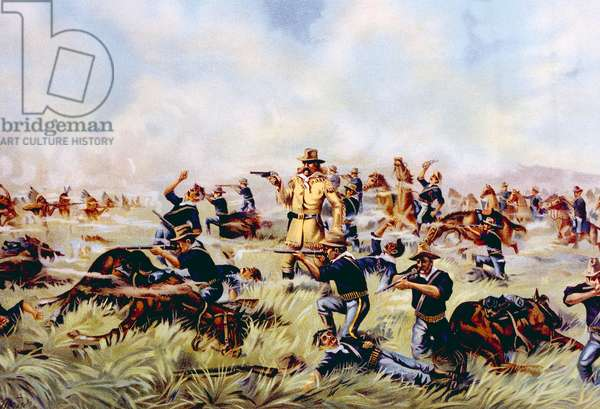 Custer's Last Stand, General George Armstrong Custer at the Battle of Little Bighorn, 1876, lithograph published 1899