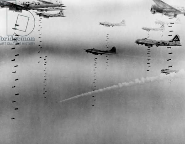 B-17 Flying Fortresses of U.S. 8th Air Force bombing Dresden in April 17, 1945.  April 17, 1945, World War 2