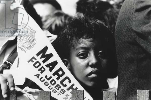 Young woman demonstrator at the March on Washington for Jobs and Freedom. August 28, 1963