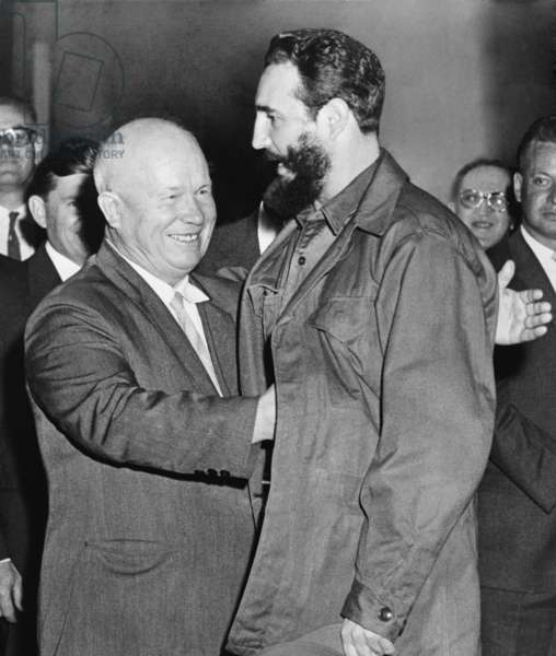 Soviet Premier Nikita Khrushchev greets Cuban President Fidel Castro to the Russian legation in New York City during the yearly session of the UN General Assembly. September 23, 1960