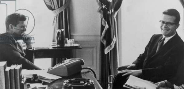 John F. Kennedy (1917-1963) and Theodore Soresen (b.1928) together during the Kennedy presidency (1961-1963)