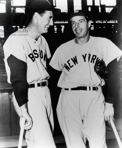 Top Sluggers. Ted Williams of the Boston Red Sox and Joe DiMaggio of the New York Yankees. 1951