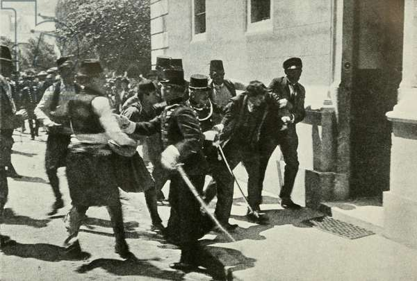 The arrest of Gavrilo Prinzep, assassin of Austrian Archduke Franz Ferdinand, the heir to the throne of Austria-Hungary, on June 28, 1914 at Sarajevo. KW: Bosnia-Herzegovina