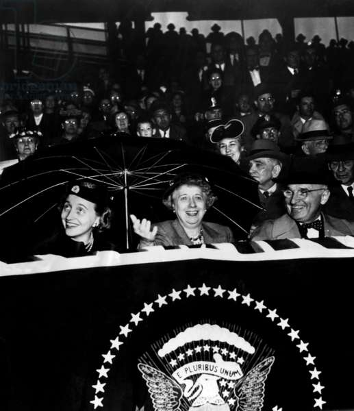 President Harry Truman (far right), with wife First Lady Bess Truman (center), and daughter Margaret Truman (far left), c 1950s.