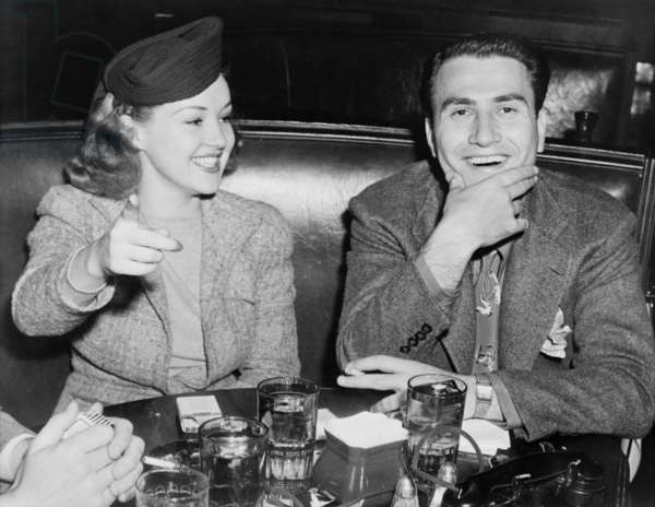 Actress Betty Grable and Bandleader, Artie Shaw on a date, Oct. 12, 1939. Shaw was between his 2nd and 3rd marriages (of eight); Grable was between husbands Jackie Coogan and Harry James. At Hollywood's Brown Derby