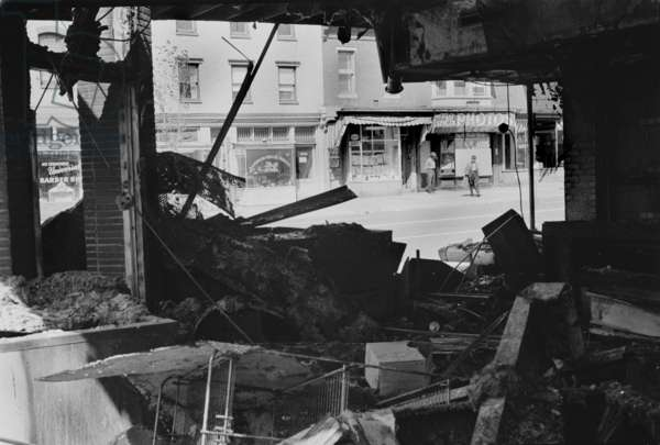 Civil rights, riot damage in Washington DC, ruins of a store in Washington DC that was destroyed during the riots that followed the assassination of Martin Luther King Jr, photograph by Warren K. Leffler, April 16, 1968