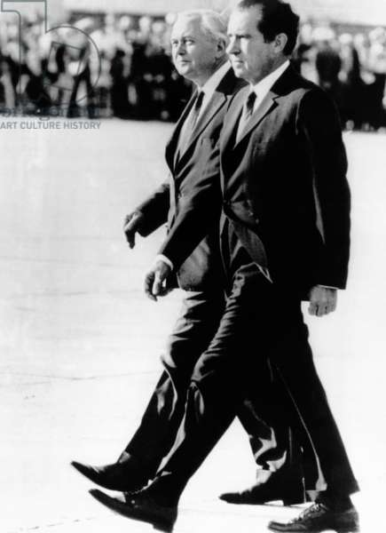 President Richard Nixon and British Prime Minister Harold Wilson walk in step, August 3, 1969
