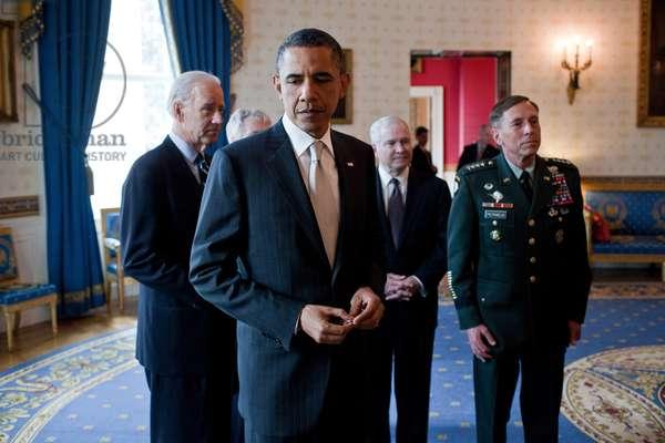 President Barack Obama prior to announcing military leadership changes, April 21, 2011