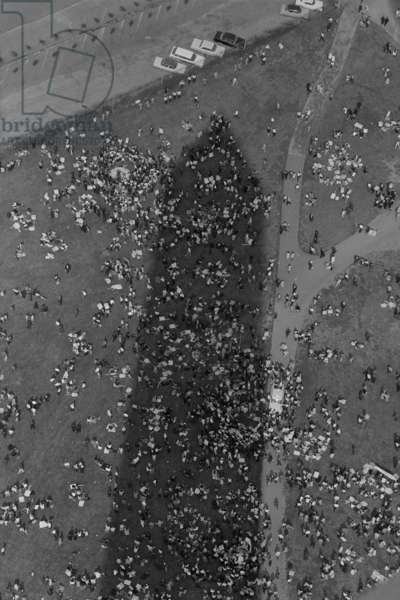 Aerial view of marchers in the shadow of the Washington Monument at the March on Washington. August 28, 1963