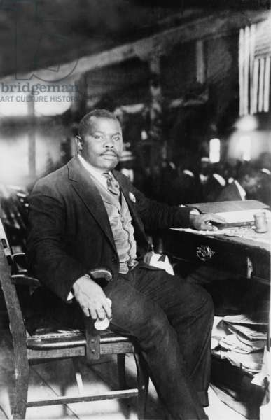 Marcus Garvey (1887-1940), founded the African American nationalist organization, Universal Negro Improvement Association (UNIA) in 1914. His movement was successful until government investigators charged him with mail fraud, resulting in his imprisonment and deportation. c. 1920