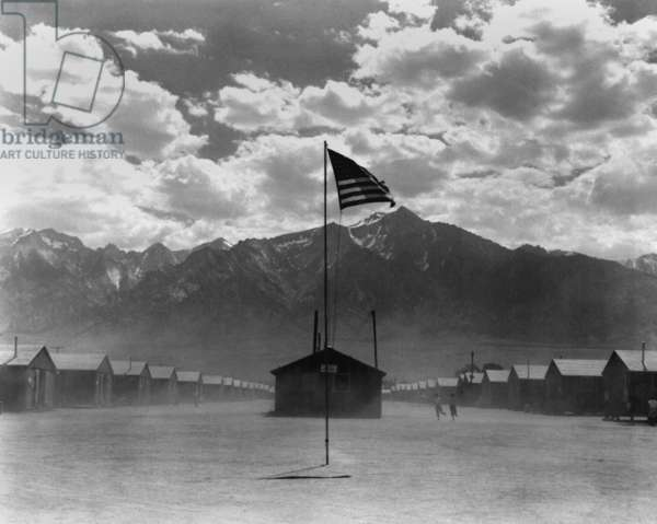 Dust storm at Manzanar internment camp for Japanese Americans for during WWII, California, July 3rd 1942 (b/w photo)