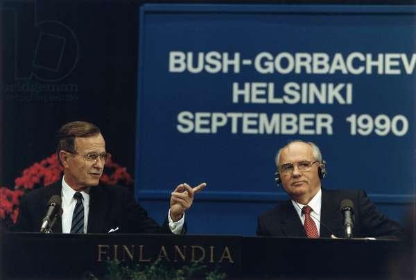 US President George H. W. Bush and Soviet President Mikhail Gorbachev at the Helsinki Summit, September 1990