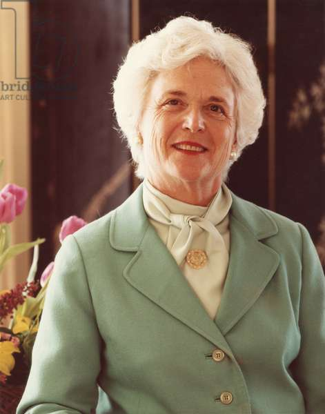 Barbara Bush, wife of Vice President George H.W. Bush during the Ronald Reagan Administration. Official portrait for the First Term from Jan. 20, 1981-Jan. 20, 1985